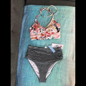 Cupshe floral bikini striped bottoms swim